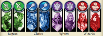 Rouges, Clerics, Fighters, Wizards